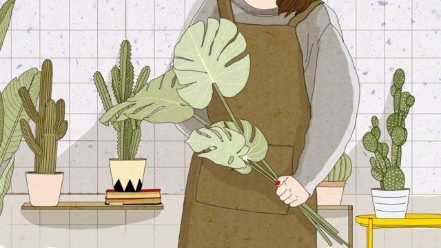 オリジナルセンフラワーショップガールサボテン植物新鮮なイラスト イラストレーション画像 イラスト画像