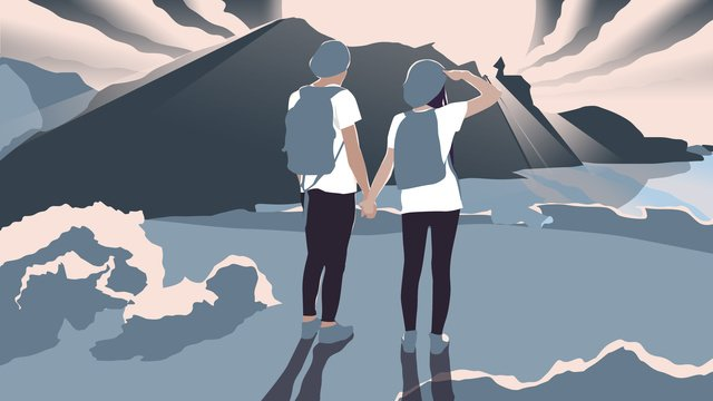 illustrator september hello couple pelancongan tepi pantai menonton pemandangan imej keterlaluan