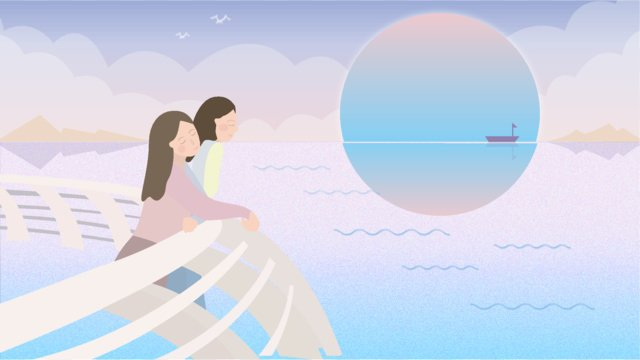September sky seaside Teenage girl, Cure, Literary, Fresh illustration image