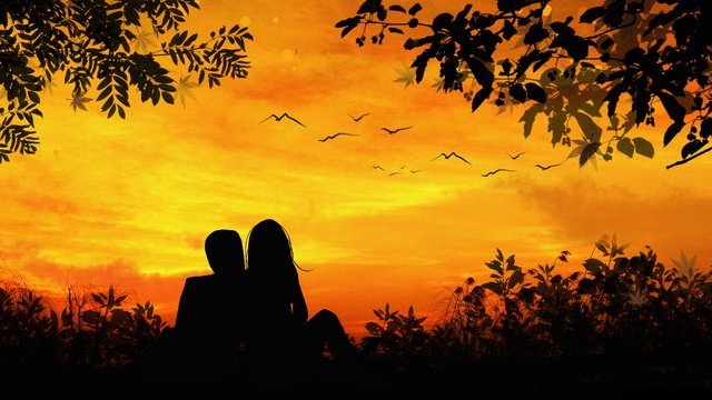Simple and fresh silhouette of couple watching the scenery at dusk sunset llustration image