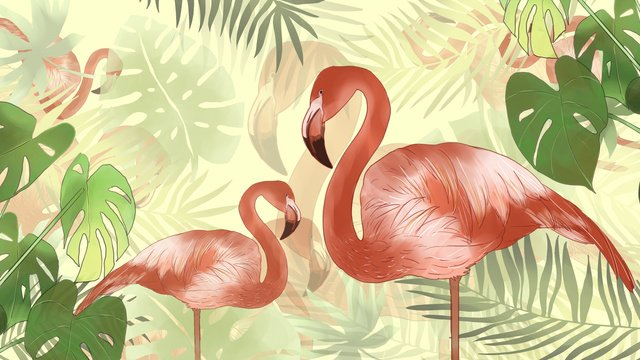 Simple and fresh summer flamingo tropical green plants, Simple, Fresh, Summer illustration image
