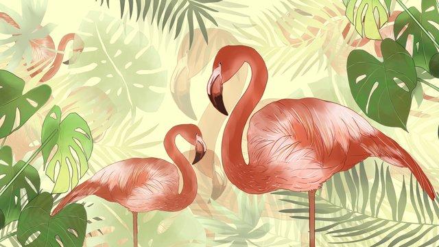 Flamingo de verão simples e fresco plantas verdes tropicaisSimples  Fresco  Verão PNG E PSD illustration image
