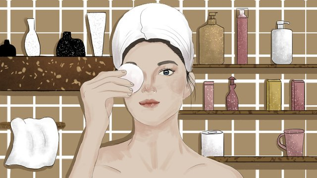 Girl in the bathroom skin care original illustration llustration image