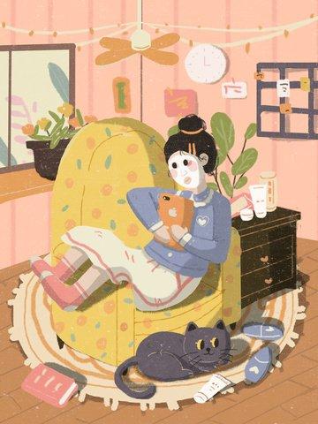 마스크 일러스트를 적용하는 스킨 케어 뷰티 소녀 삽화 이미지