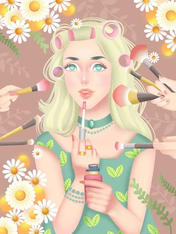 Small fresh style girl beauty skin care makeup illustration, Skin Care, Beauty, Make Up illustration image
