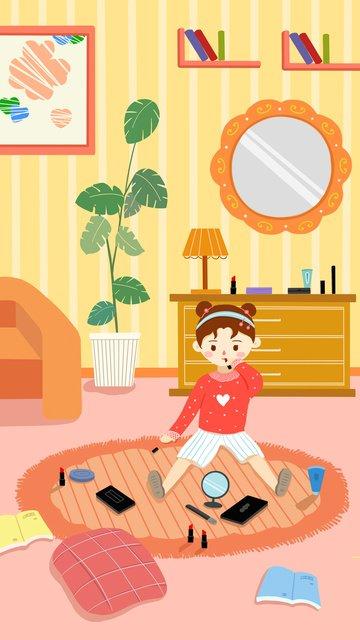 girl skin care beauty makeup lipstick small fresh illustration llustration image