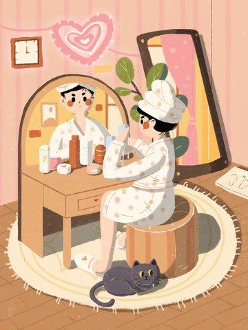 스킨 케어 아름다움 취침 시간 그림 삽화 이미지