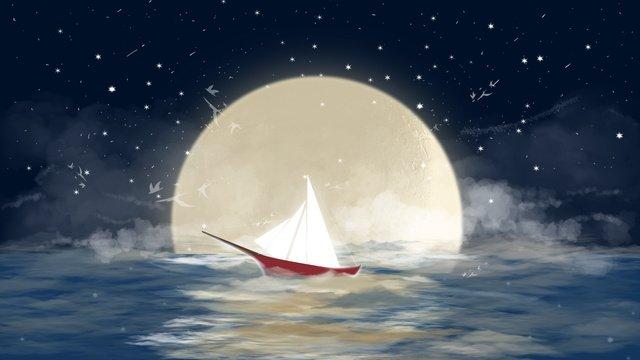 明月が中空の海を航行する帆船 イラスト素材 イラスト画像