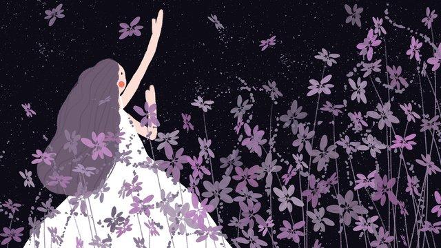 giấc ngủ thần tiên chữa bệnh pansy sea girl purple hand drawn minh họa Hình minh họa