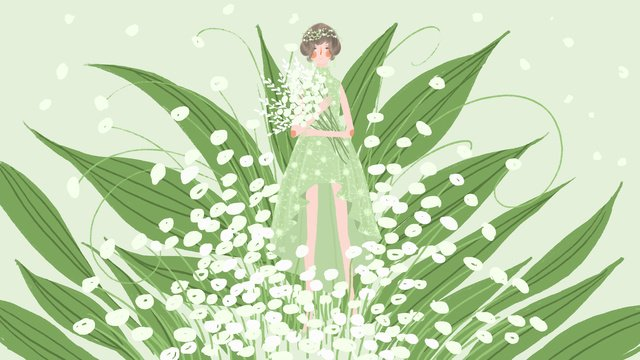 Small fresh and beautiful flower bouquet wedding girl, Small Fresh, Beautiful, Bouquet illustration image