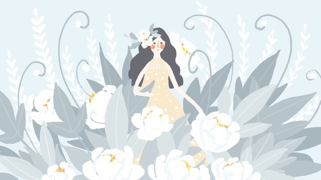 Small fresh and beautiful flowers bouquet wedding flower girl, Small Fresh, Beautiful, Flower illustration image