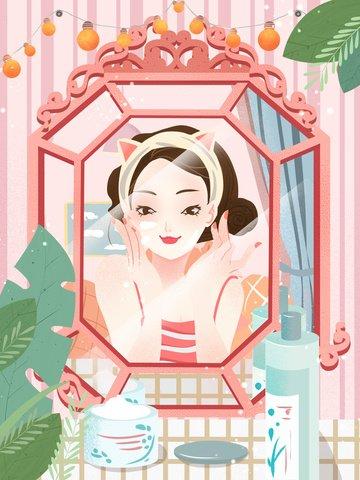 작은 신선한 질감 아름다움 피부 관리 포스터 psd 삽화 소재
