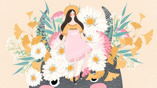 छोटे ताजा शरद ऋतु प्यारा सा राक्षस फूल लड़की चित्रण छवि