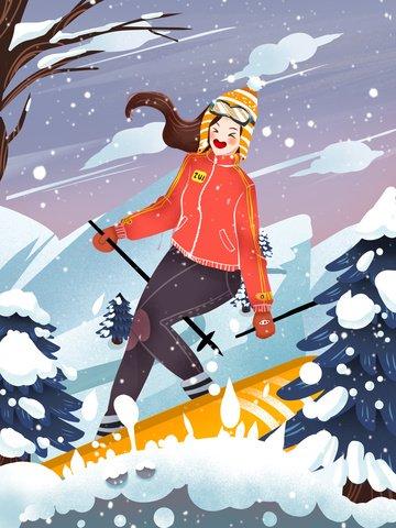 little fresh style girl winter ski psd llustration image