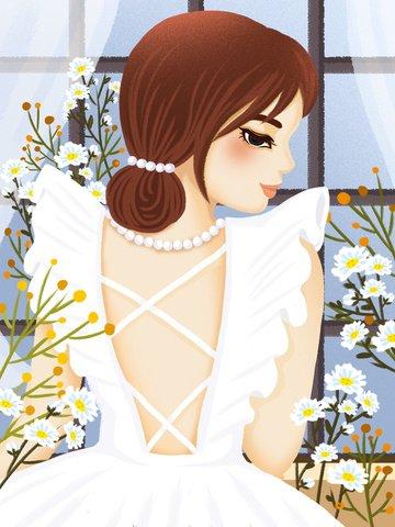 新鮮なレトロな質感のブーケ少女イラスト イラスト素材
