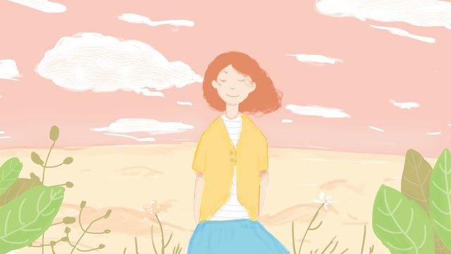 original small fresh pink girl under the sky llustration image