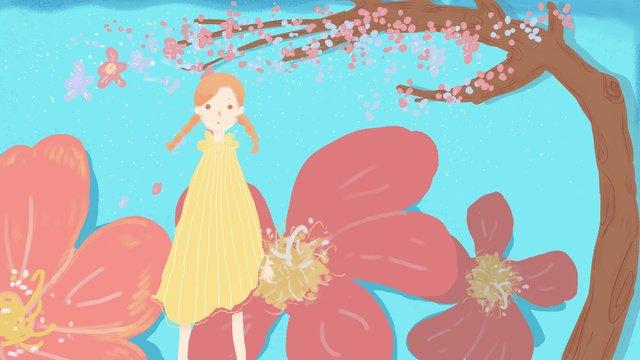 Original small fresh tree girl illustration, Small Fresh, Little Fresh Girl, Small Fresh Illustration illustration image