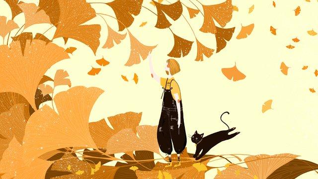 mùa thu nhỏ dễ thương lá bạch quả Hình minh họa Hình minh họa