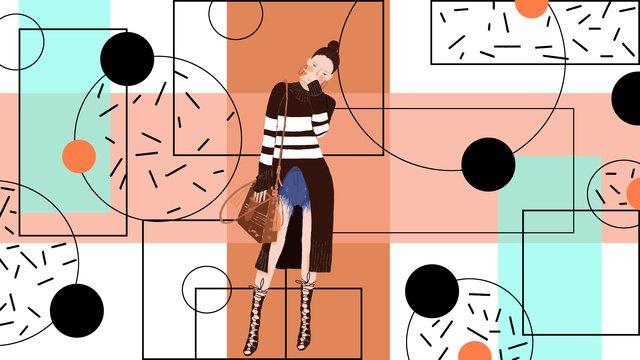 small fresh minimalist geometric fashion girl llustration image