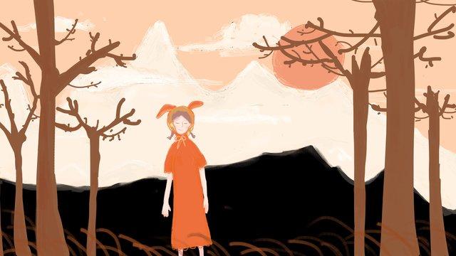 original little girl in the woods on mountain llustration image illustration image
