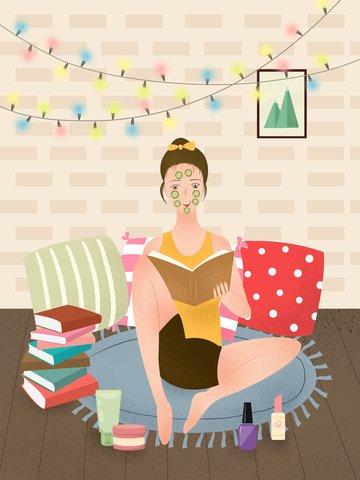 small fresh flat noise little girl skin care beauty illustration llustration image