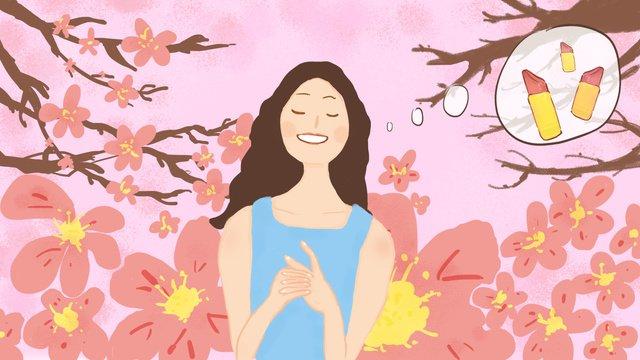 Original small fresh cherry blossom girl under fantasy cosmetic lipstick, Small Fresh, Small Fresh Illustration, Fantasy Girl illustration image