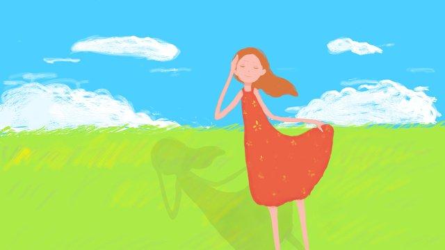 original small fresh blue sky and white clouds grassland girl llustration image