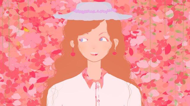 원래 꽃잎에있는 작은 신선한 소녀 삽화 소재 삽화 이미지