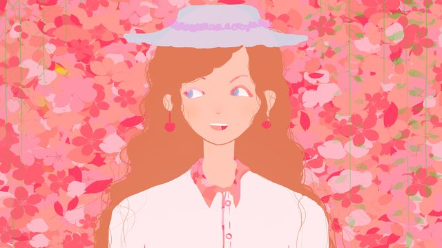 Small fresh girl in original petals llustration image