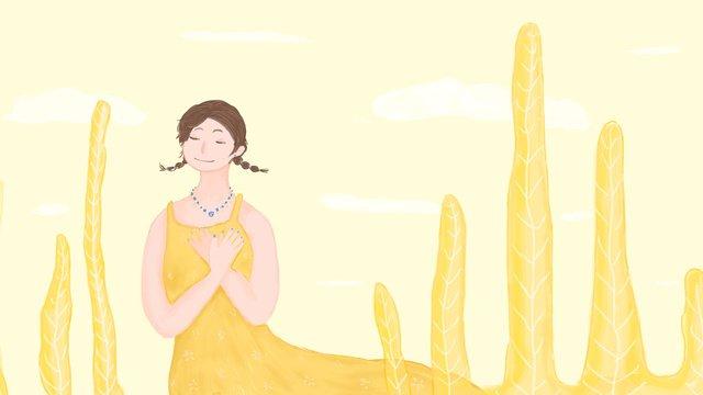 원래 작은 신선한 소녀 그림 삽화 소재 삽화 이미지