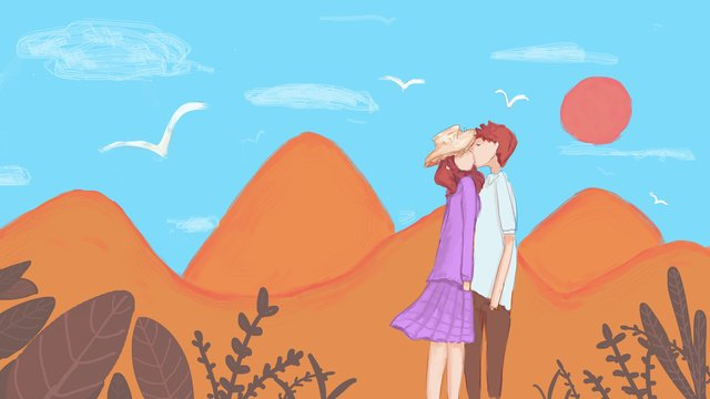 Original small fresh mountain couple under the blue sky and white clouds, Small Fresh, Wallpaper, Background illustration image