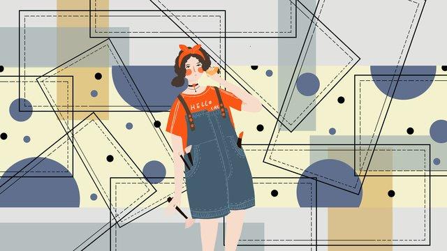 small fresh beauty fashion girl llustration image illustration image