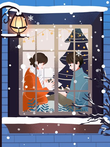 Small fresh and warm couples in the winter playing at home outside game window llustration image