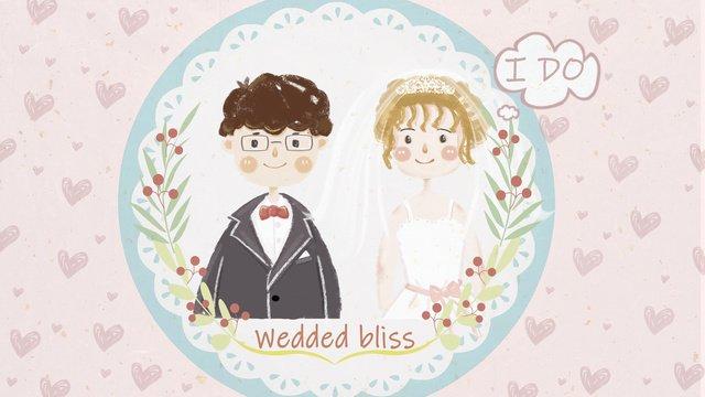 Small fresh wedding invitation boy and girl illustration llustration image