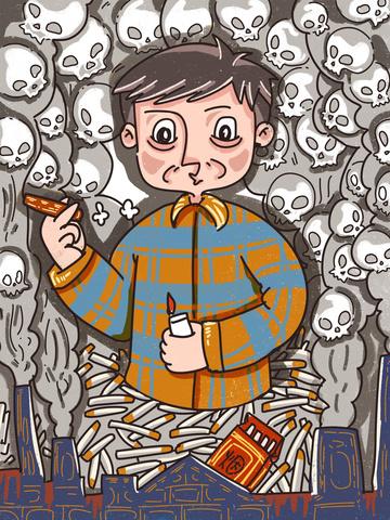 fumar é prejudicial à saúde 骷髅 homem insere um desenho de linha Imagens de ilustração