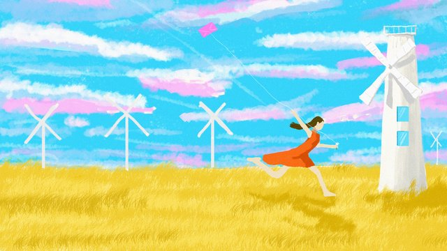 Solar terms Autumnal windmill fall, Kite, Run, Cool illustration image