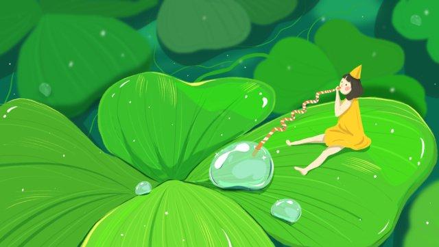 White dew summer lotus green leaf, Solar Terms, White Dew, Four-leaf Clover illustration image