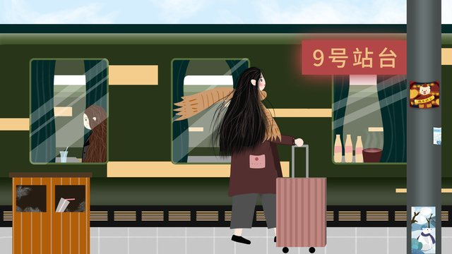 Spring festival home take the train high-speed rail station pull suitcase girl, Spring Festival, Come Back Home, By Car illustration image