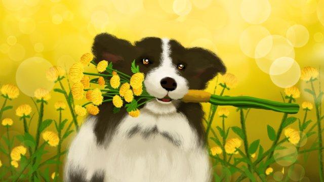 Мэн серия исцеленных животных отправить цветы собаке привет Ресурсы иллюстрации Иллюстрация изображения
