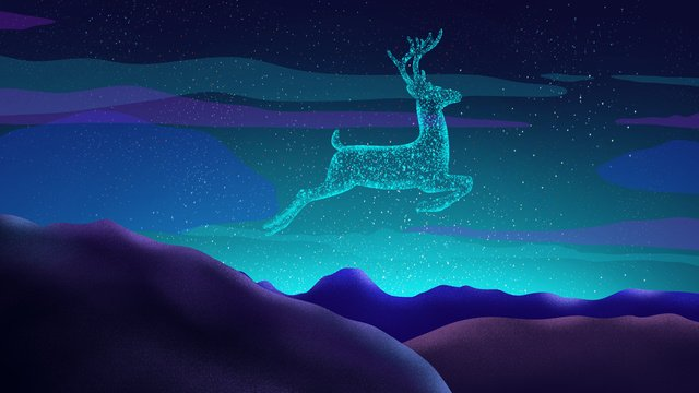 deer original hand painted poster illustration wallpaper in the sky llustration image