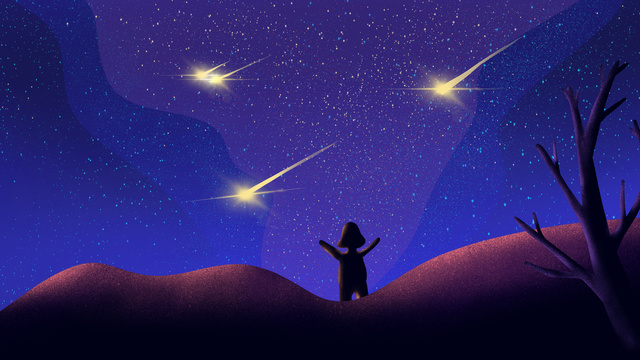 meteor strokes night sky original æ painted poster illustration wallpaper llustration image