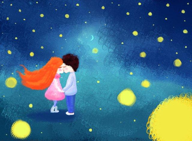 starry tình yêu cuộn minh họa Hình minh họa