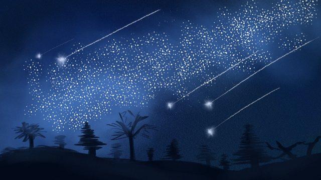 流星劃過星空 插畫素材