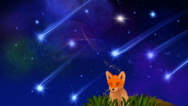 The vast expanse of stars little fox watching healing starry sky, Starry Sky, Meteor, Cure illustration image