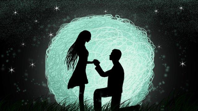 hand painted night marriage proposal couple tanabata goodnight llustration image illustration image