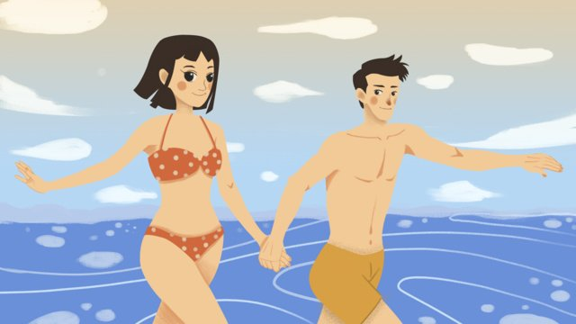 Summer Couple seaside cool, Hand In Hand, Summer, Couple illustration image