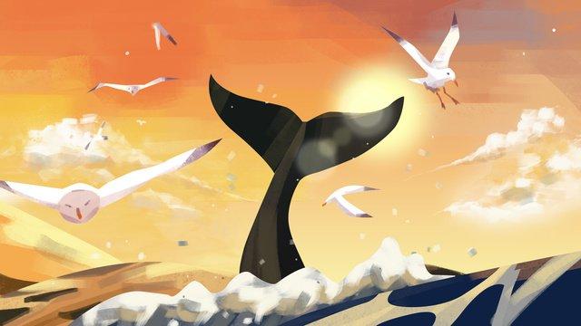 夏日黃昏夕陽海洋鯨魚海鷗嬉戲 插畫素材 插畫圖片