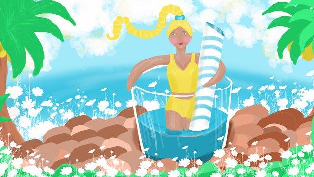 夏天女孩海邊休閒吹風喝飲料 插畫素材