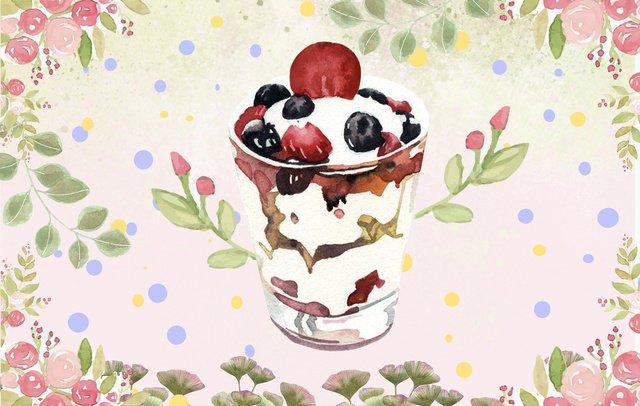夏の花のアイスクリーム イラスト素材
