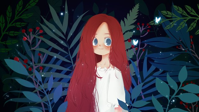 Summer night little girl plant llustration image illustration image